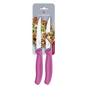Conjunto com 2 facas Swiss Classic lâmina serrilhada para pizza/steak 12cm Pink