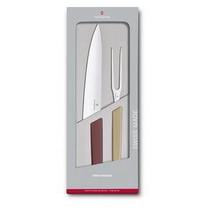 Conjunto para Fatiar Swiss Modern Colors 21cm - Vinho e Bege
