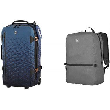 Combo Mala Esportiva Expansível Média VX Touring Azul + Mochila Portátil T.A.Edge Packable em Polinylon Cinza